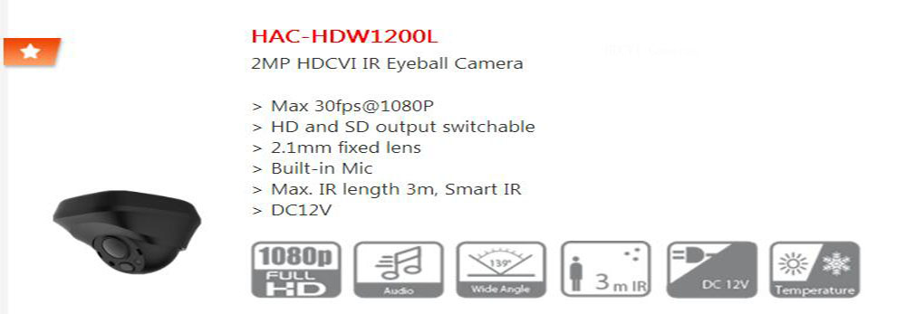 все цены на Free Shipping Original English DAHUA Security Camera CCTV 2MP HDCVI IR Eyeball Digital Video Camera without Logo HAC-HDW1200L онлайн