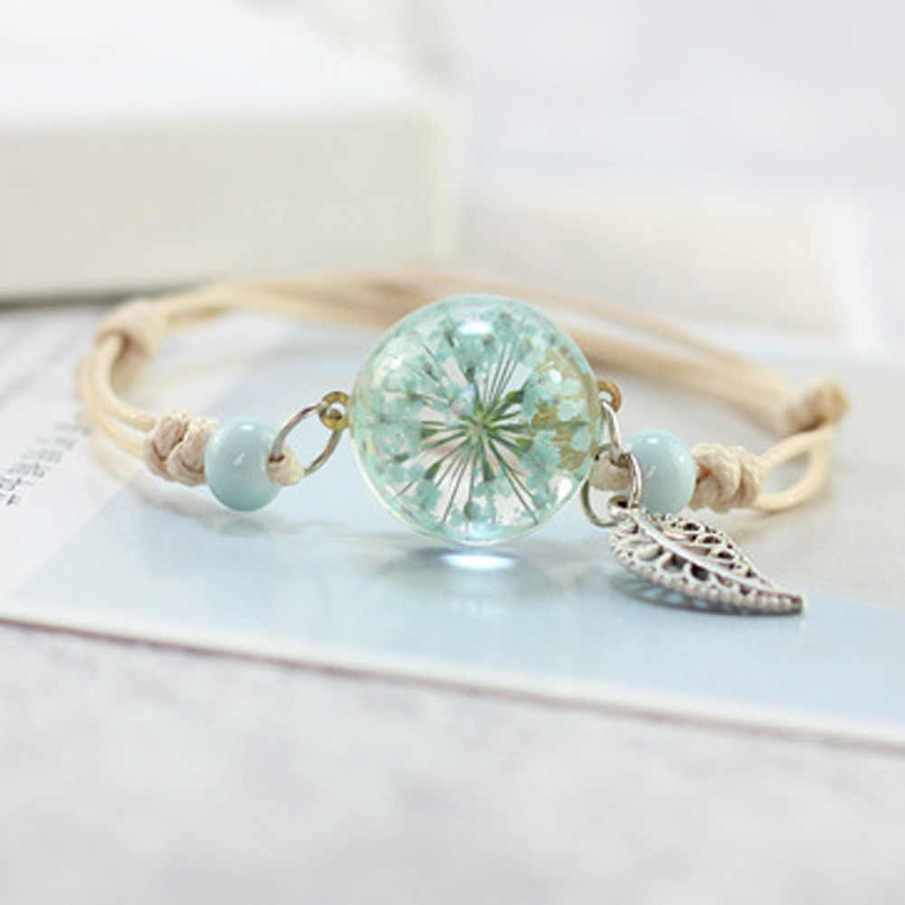 1PCS New Boho Vintage Charm Bracelet Handmade Real Dry Flower Glass Ball Weave Adjustable Bracelets Bangle For Women Fashion