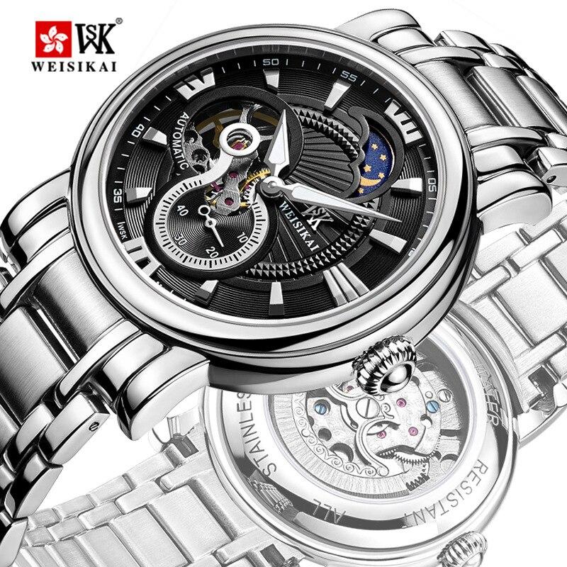WEISIKAI Moda Mens Relógios de Luxo Da Marca Homens de Negócios Casual Relógios Mecânicos Relógio de Pulso tourbillon Militar zegarki meskie