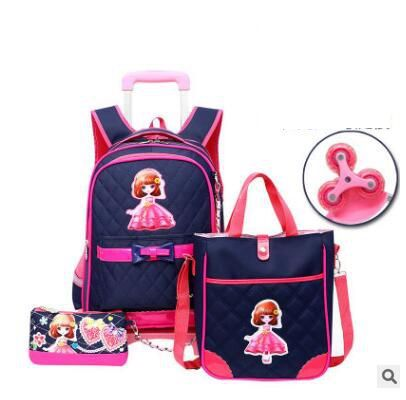 Student Trolley Backpack For School Kids Rolling Bags For Girls Wheeled Backpack School Backpack With Wheels Travel Trolley Bag