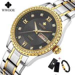 Image 1 - WWOOR שבוע שעון גברים יוקרה יום תאריך Mens שעוני יד עמיד למים גברים נירוסטה שעונים קוורץ ספורט שעון מתנת צמיד