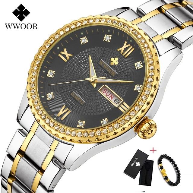 WWOOR שבוע שעון גברים יוקרה יום תאריך Mens שעוני יד עמיד למים גברים נירוסטה שעונים קוורץ ספורט שעון מתנת צמיד