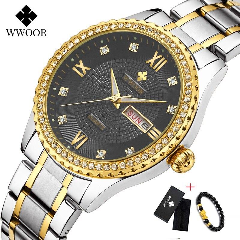 WWOOR Week Watch Men Luxury Day Date Mens Wristwatch Waterproof Men Stainless Steel Watches Quartz Sport Watch Gift Bracelet