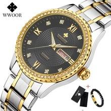 WWOOR Week Watch Men Luxury Day Date Mens Wristwatch Waterproof Stainless Steel Watches Quartz Sport Gift Bracelet