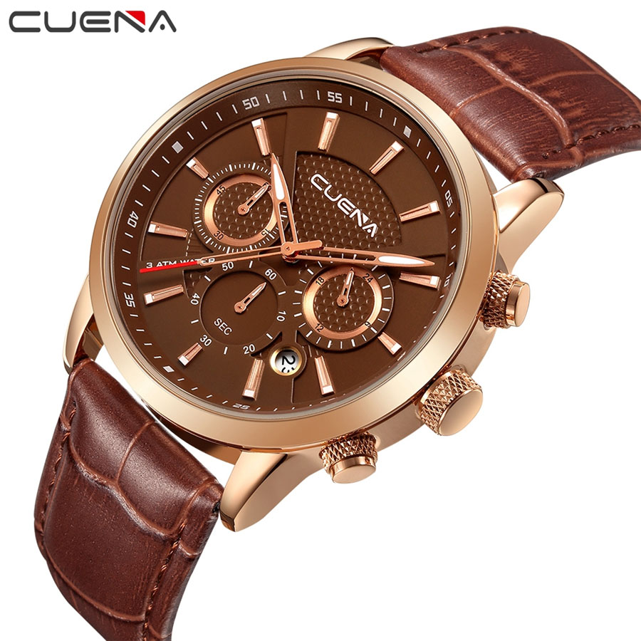 CUENA Men Watches Top Brand Luxury Quartz Watch Mens Sport Fashion Analog Leather Strap Male Wristwatch New Waterproof Clock top luxury brand mens fashion leather strap multifunction watches men quartz watch waterproof wristwatch male table clock reloj