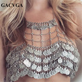 GACVGA 2017 Metal Money Tassel Women Crop Tops Hollow Tank Top Women's Bra Summer Sexy Beach Crop Top Bralette Cropped Vest