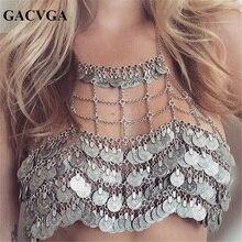 GACVGA 2017 Metal Money Tassel Women Crop Tops Hollow Tank Top Women's Bra Summer Sexy Beach Crop Top Bralette Cropped Vest