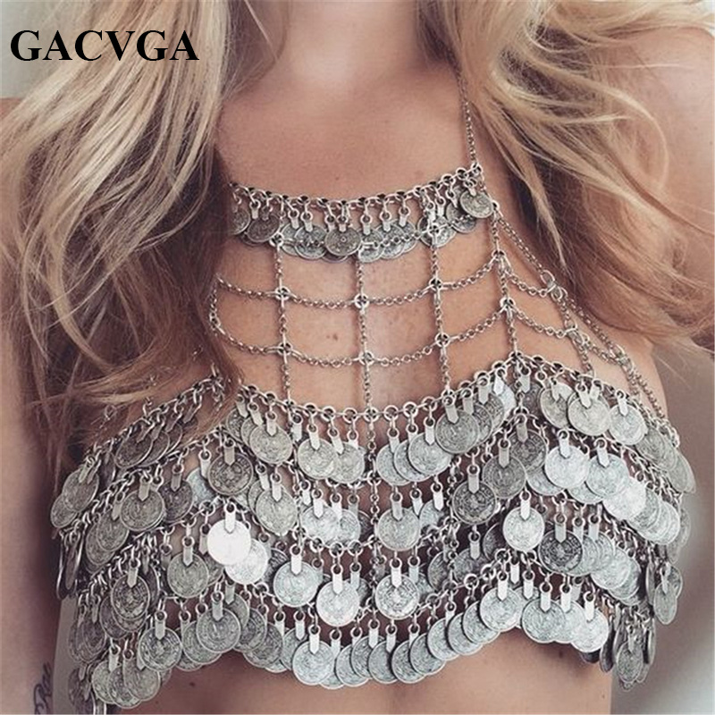 GACVGA 2019 Metal Money Tassel Women Crop Tops Hollow Tank Top Dam BH Sommar Sexig Beach Crop Top Bralette Cropped Vest