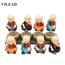 VILEAD 4pcs/Lot Little Monk Figurines Kungfu Miniatures Shaolin Temple Monks Vintage Home Decor Creative Gifts Toy for Kids