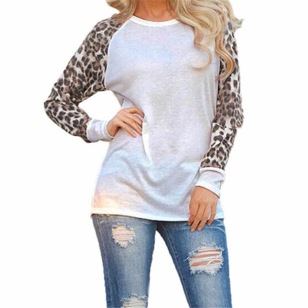Модная Повседневная шифоновая леопардовая блузка с длинным рукавом, женские топы, футболки, лето 2019, блузка для женщин, женская рубашка, одежда размера плюс S-5XL