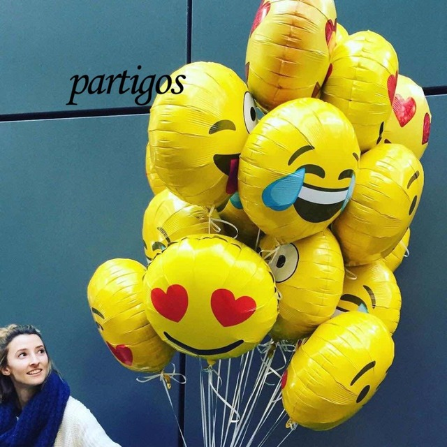 10pcs/lot Emoji Foil Balloons cool/love/kiss/naughty expression Helium Balloon 45*45cm Birthday Party Supplies Kids Gifts