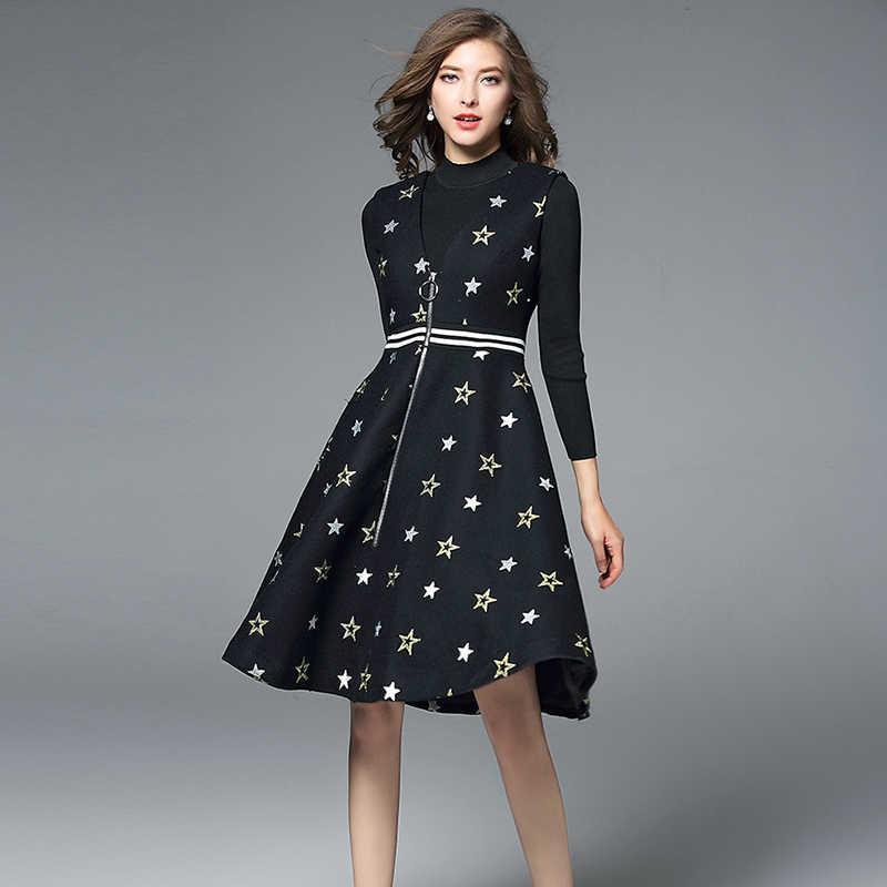 Платья от hamaliel Женский комплект из 2 предметов платье 2018 осень зима черный вязаный свитер укороченный + твидовая вышивка майка со звездами юбка комплект