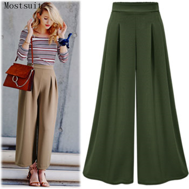 High Waist   Wide     Leg     Pants   Self Belted Box Pleated Palazzo   Pants   Women Elegant Loose Elastic Waist   Pants   2018 Fall Trousers Mujer