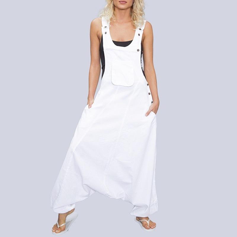 2019 Women New Fashion Summer Sleeveless Baggy Harem Wide Leg Loose Jumpsuit Long Pant Black White S/M/L/XL/XXL/3XL/4XL/5XL