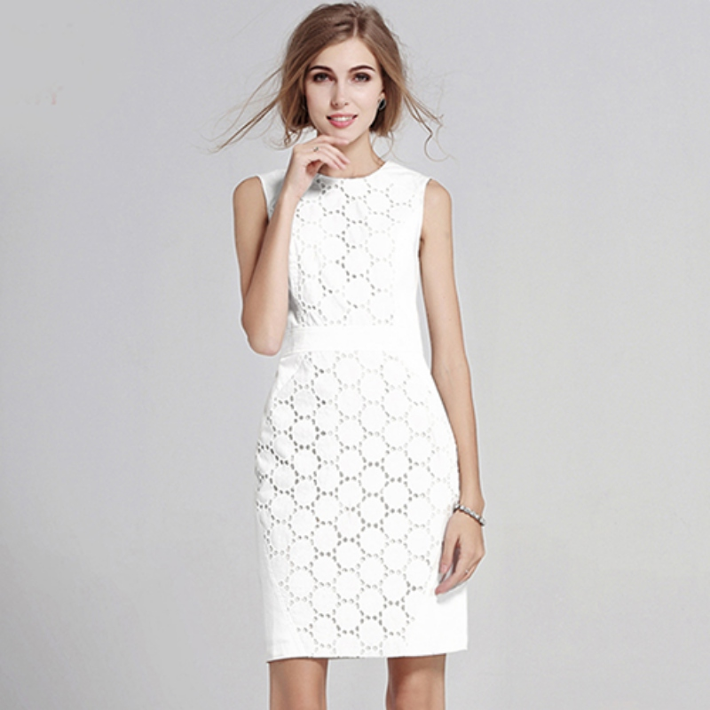 Women Sexy Sleeveless Solid Color Slim Large Size Dresses Fashion Casual White Lace Mini Dress  2018