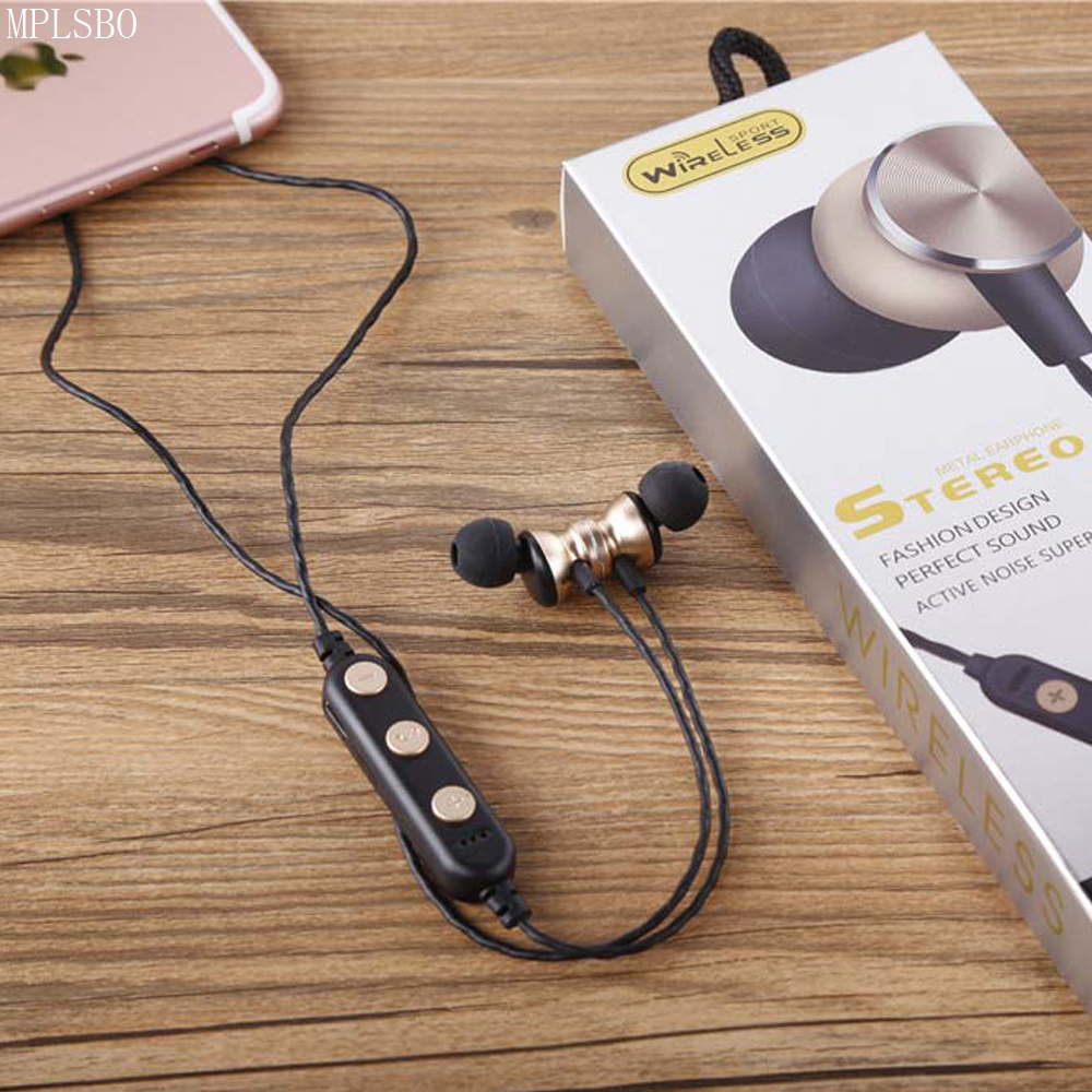 MPLSBO Bass Bluetooth Earphone Wireless Earphones With Mic Magnetic in ear Sports Bluetooth Earbuds Headset For Mobile Phone