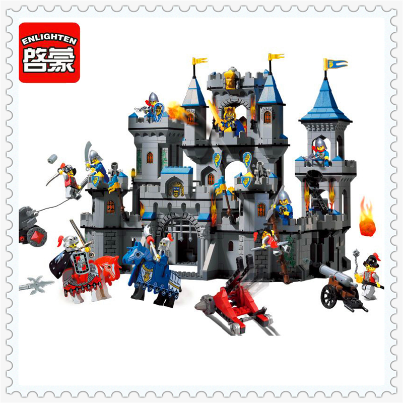 ENLIGHTEN 1023 Medieval Lion Castle Knight Carriage Building Block 1393Pcs Educational  Toys For Children Compatible Legoe new lepin 16008 cinderella princess castle city model building block kid educational toys for children gift compatible 71040