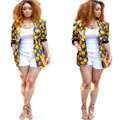 Printing Ladies Blazer 2016 New S-XL Plus Size Flower Print Short Women Suit Jacket Blazer Female Veste Suits