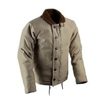 Vintage USN N 1 Deck Jacket US Navy Khaki Men's Military Jacket WW2 N1 Uniform Winter Woolen Coat Army Cotton Outwear Replica 44