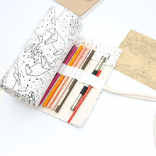 Korean bag Simple 36/48/72 Holes Big Constellation Pencil Case Canvas Roll Pouch Sketch Brush pen Pencil Bag Tools 36 holes portable professional sketch pencil bag pencil case extender eraser pencil case cutter drawing set bag no pencil ass029