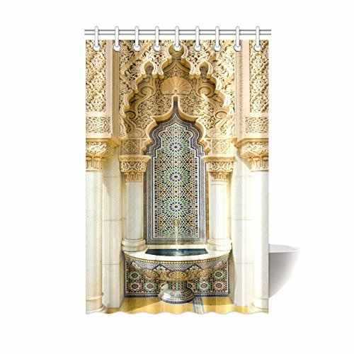 Vintage Building Design Moroccan Decor Wash Table Housing Art Historic Exterior Facade Mosaic Polyester Fabric Shower Curtain