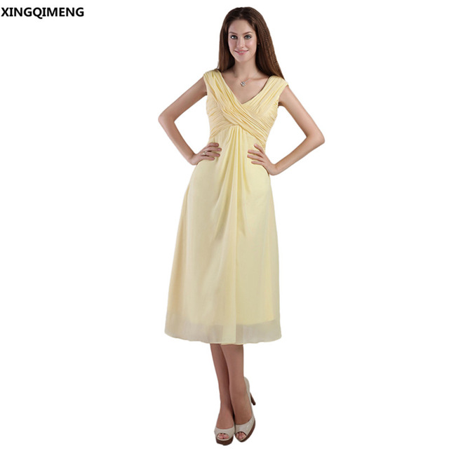 Light Yellow Chiffon Elegant Cocktail Dresses Tea Length Cocktail ...