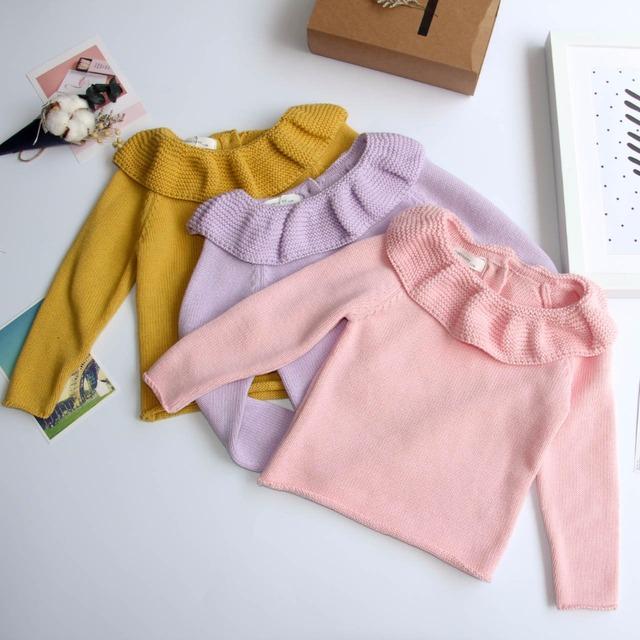 Bebé Suéteres Infantiles Para Niños Niñas Cardigan Volantes collar de Peter Pan de Algodón Cardigans Chica Tops Suéteres del Suéter Embroma la Ropa