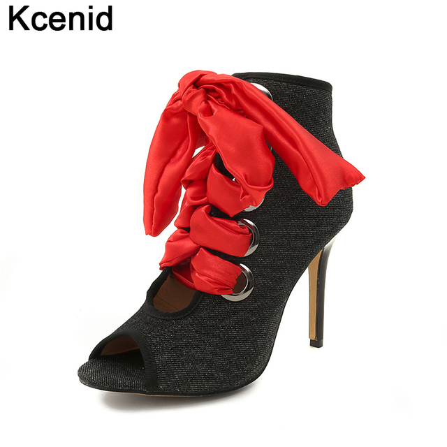 fb378673777 Kcenid Summer woman denim boots sexy peep toe lace up gladiator pumps  fashion satin cross tied high heels shoes woman big size46