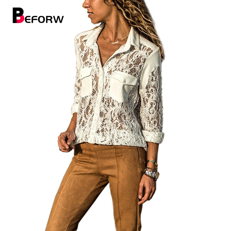 BEFORW 2018 New Women Sexy Lace Hollow Out Transparent White   Blouse     Shirt   Fashion Turn-Down Collar Long Sleeve   Blouses   Tops