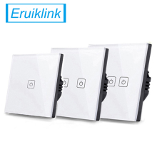 Eruiklink EU/UK Standard 1 Gang/2 Gang/3 Gang Way Touch Switch ,Single Fireline Wall Light Switch,White Crystal Tempered Glass