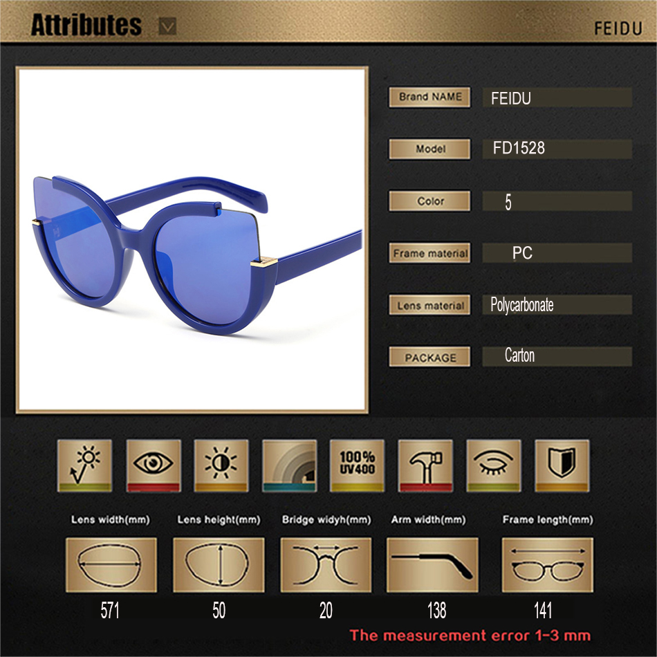 9628c7adc09 FEIDU Fashion Oversized Cat Eye Sunglasses Women Brand Designer Multicolor  Sun Glasses For Women Driving Oculos De Sol Feminino-in Sunglasses from  Apparel ...