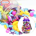 150/300/500pcs Girl Beads DIY No String Beads Make Up Puzzle Toys Jewelry Necklace Bracelet Building Kit Educational Block Toy