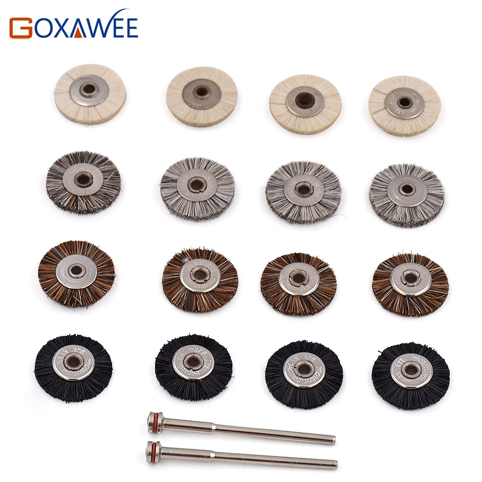 GOXAWEE 10pcs Abrasive Tools Brush Dremel Tool Accessories Polish Brush Mini Unmounted Abrasive Brush Wheel 19mm & 2pcs Mandrels
