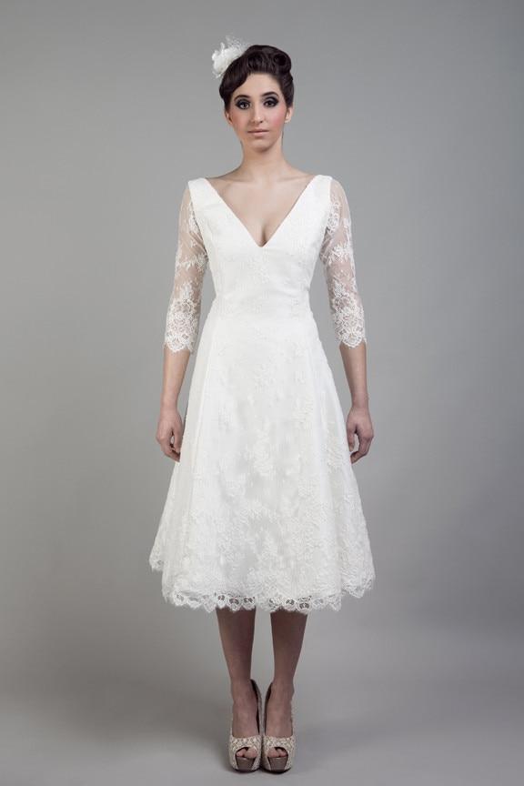 Buy vintage style v neck a line bridal for Ivory short wedding dress