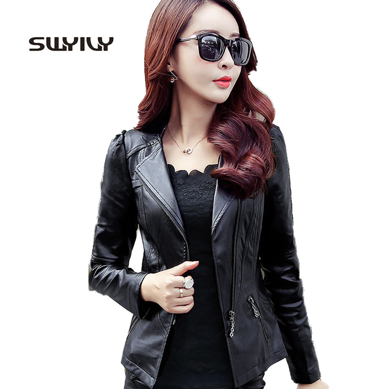 Zipper PU   Leather   Jacket Coat Short Solid Motorcycle Slim Jacket With Pocket 2019 Classic Basic Spring Jacket Women Outwear 3XL