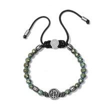 2017 натуральный камень зеленый обсидиан браслет мужчин Винтаж нержавеющей стали Веревка плетение макраме браслеты для мужчин и женщин Pulseira