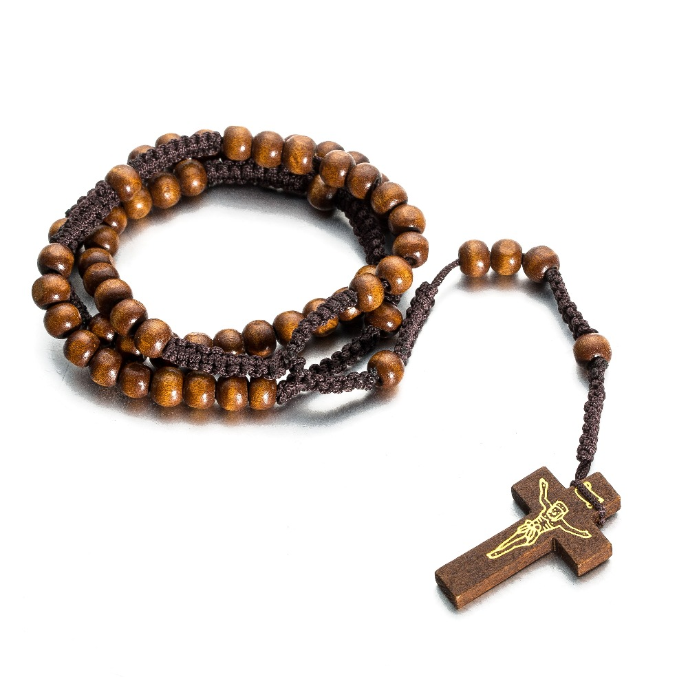 Classic Hand Woven Beads Wooden Beads Necklace Pray