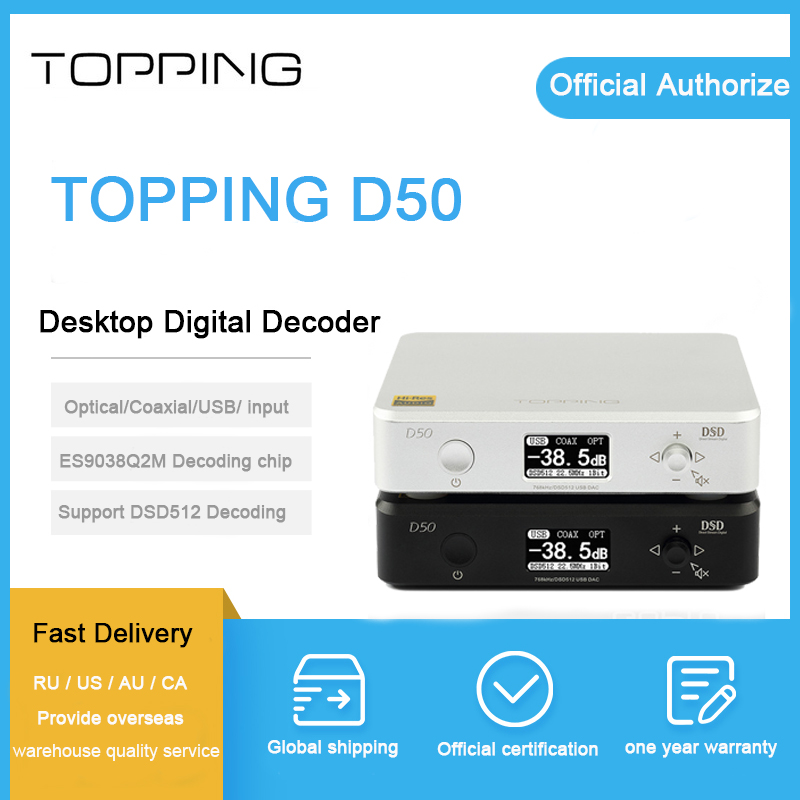 Topping D50 dac decodifica audio XMOS (XU208) es9038q2m OPA1612 dac di chip USB/OPT/COASSIALE ingresso DSD512/PCM 32Bit/768 khz dac amp