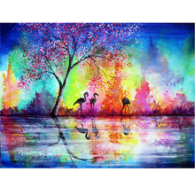 DIY Diamond Painting Cross Stitch Flamingo Water Nature  Embroidery Full Square  Mosaic Rhinestones Decor JS1581 large diy diamond painting abstract venice city of water embroidery beads cross stitch full square round mosaic decor fs4695