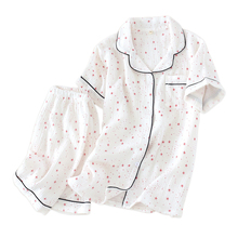 100% ちりめん綿新鮮な星ショートパジャマセット女性夏日本半袖シンプルなパジャマ mujer 女性のための