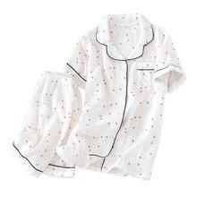 New Fresh stars 100% cotton crepe shorts pajama sets women Summer Japanese short sleeves simple pyjamas mujer sleepwear women