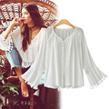 2017 Shirt Women Tops Boho White Lace Blouse Long Sleeve kimono Plus Size M-3XL Women Tops Camisetas Mujer  Blusas Femininas