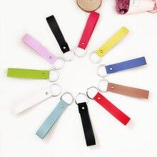 Handmade Simple PU Keychain Women Charm Gifts Jewelry Accessories Fashion Leather Keyrings Durable Key Holder недорого