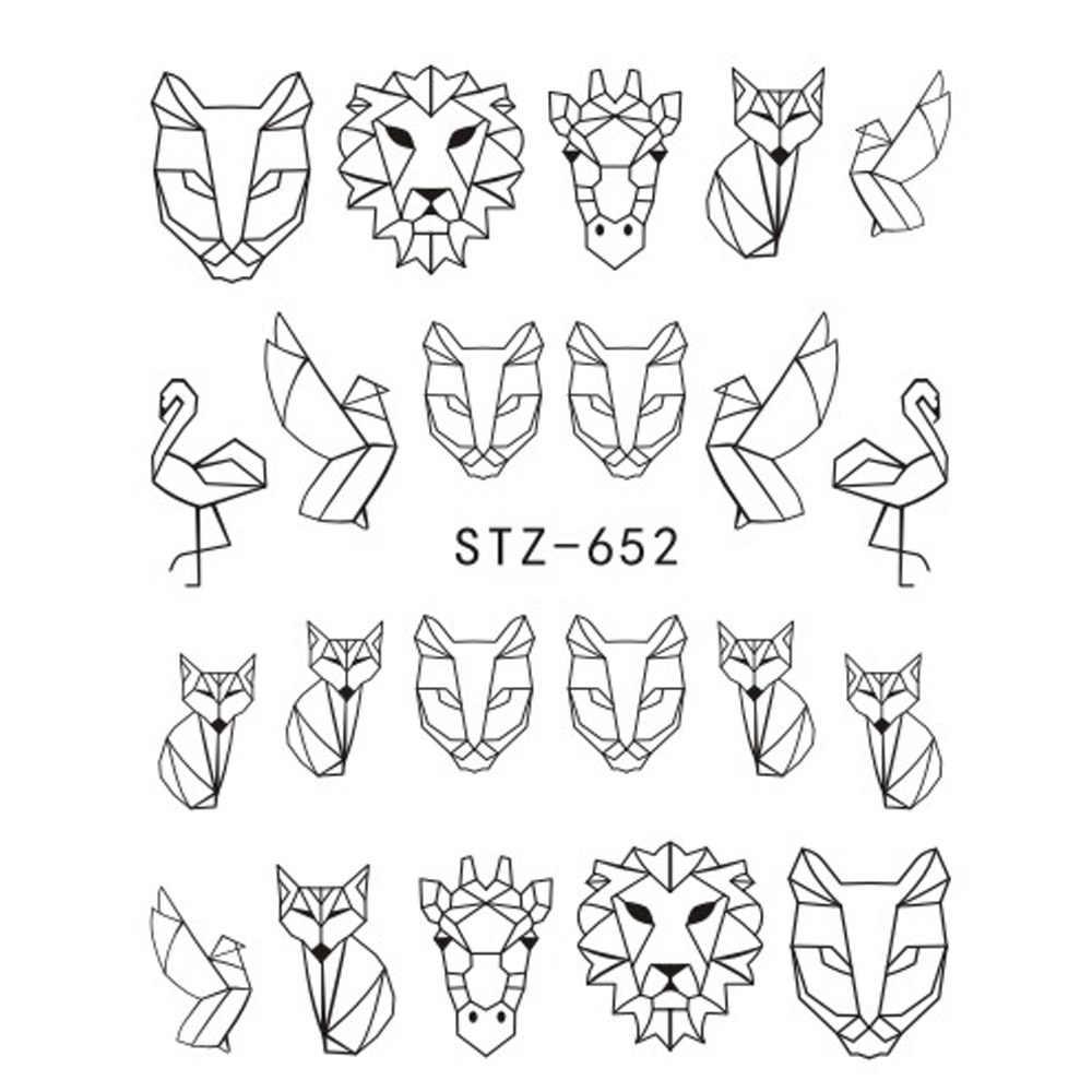 1 Copriletto Acqua Autoadesivi Del Chiodo Nero Animale Del Fumetto Flamingo Fox Hollow Disegni Cursori Per Decalcomanie Del Chiodo di DIY Manicure SASTZ651-654