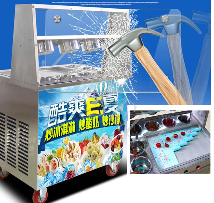 free ship CE R410 110V 220V 1600w flat pan freezing ice cream machine frying ice cream machine fried ice cream roll machine 220v 110v mixed type hot dog lolly waffle machine hot dog grill