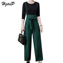 HziriP Office Lady O-neck Tops&Wide Leg Pants 2 Piece Set Women Tracksuits Women's Costumes Clothing For Fitness 2017 Autumn New