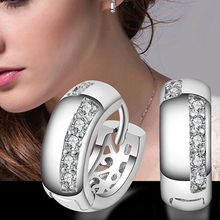2015 Hot Women's Wedding Party Zircon Silver Plated Ear Studs Hoop Huggie Earrings Jewelry Chrismas Gift
