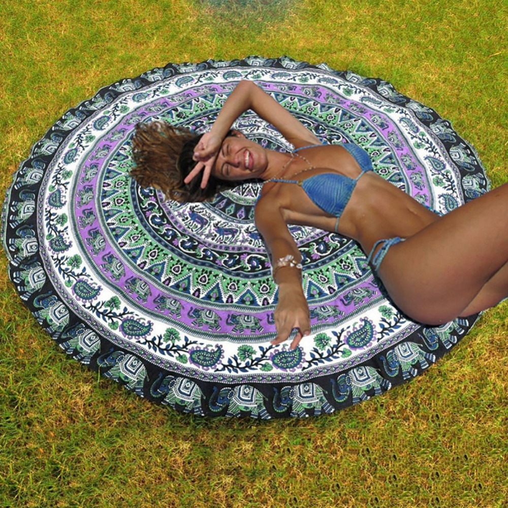 Fashion Boho Style Mutifunction Hot Hippie Indian Mandala Beach Throw Towel Round Mat Boho Tapestry Yoga