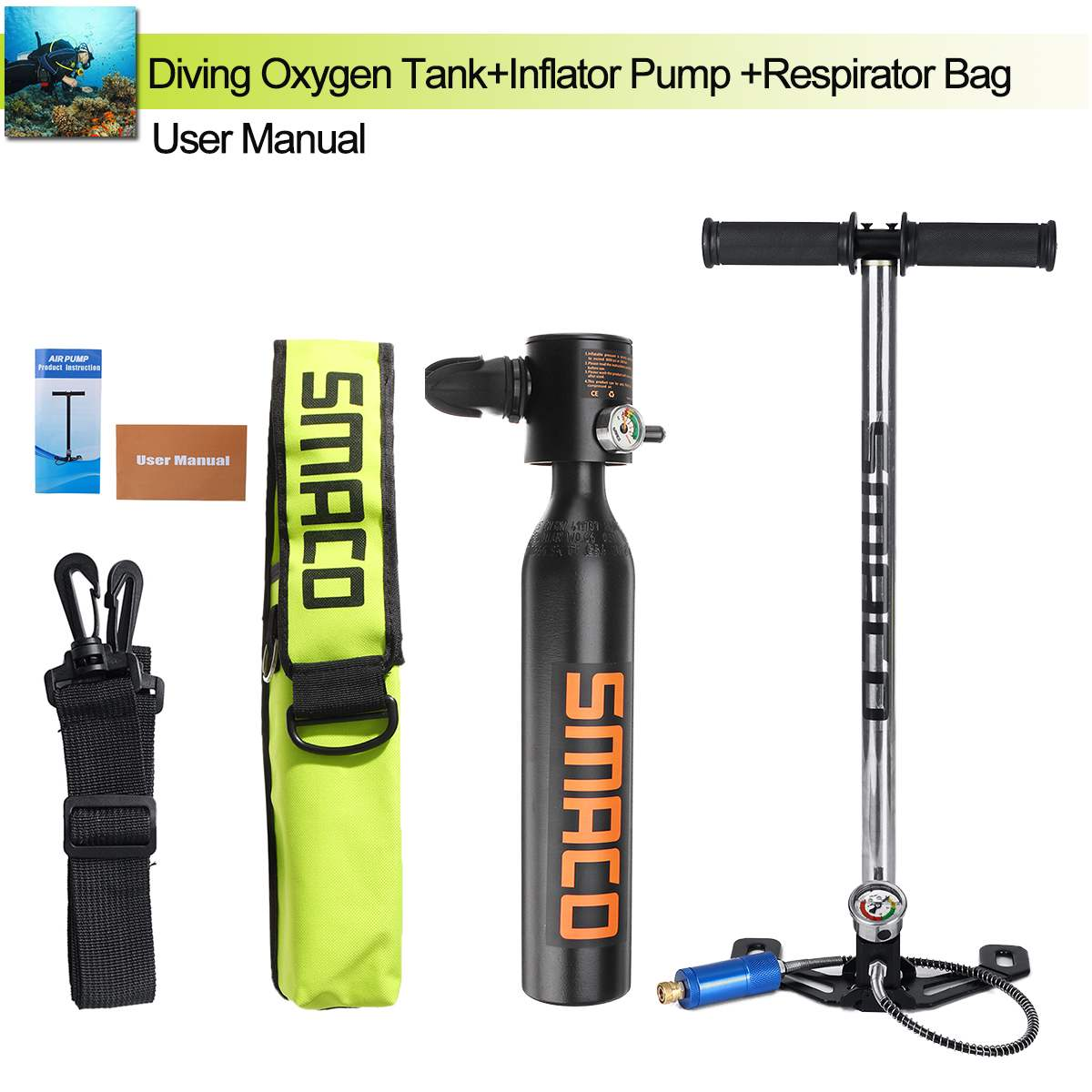 0.5L Portable Mini Scuba Oxygen Cylinder Air Tanks 3000PSI Max Diving Equipment For Snorkeling Underwater Breathing Pump Bag