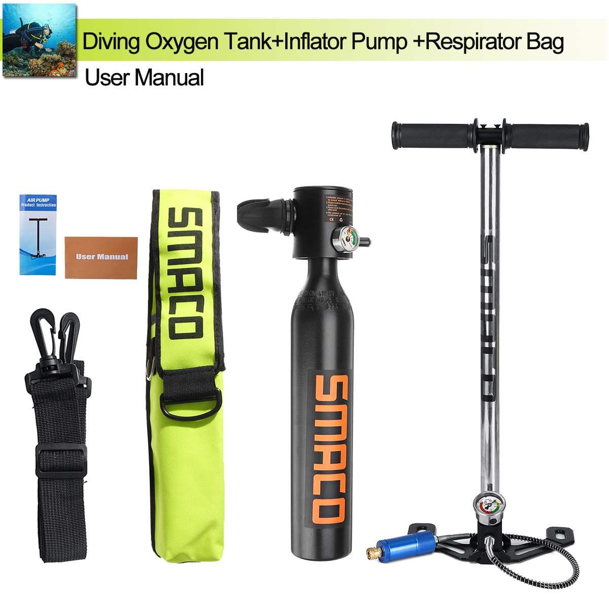 Mini réservoir d'air portatif de cylindre d'oxygène de plongée de 0.5L équipement maximum de plongée de 3000PSI pour le sac sous-marin de pompe respiratoire de plongée en apnée